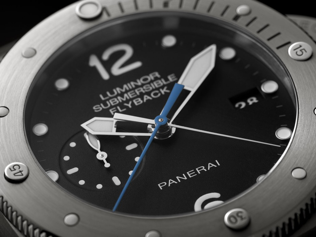 Panerai Luminor Submersible 1950 3 Days Chrono Flyback Automatic Titanio PAM614 dial