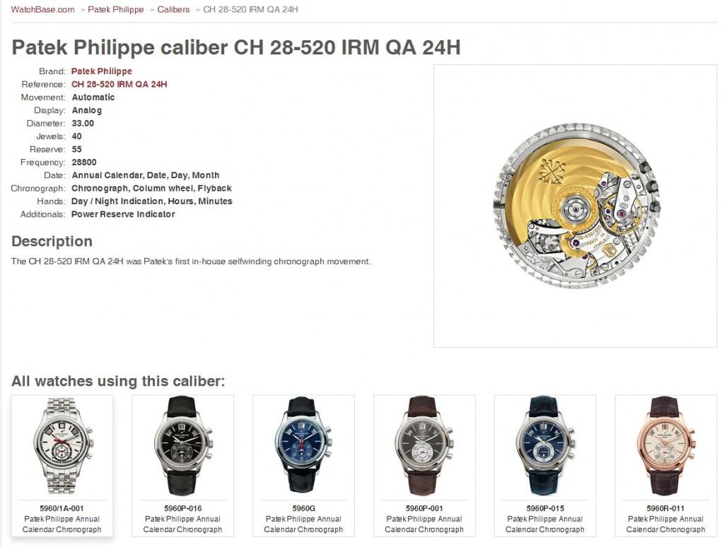 Patek Philippe Caliber CH 28-520 IRM QA 24H WatchBase